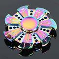 NEW Crackle Hot Wheels cool Rainbow Fidget Spinner Metal Tri EDC Hand Finger Spinner Focus Anxiety
