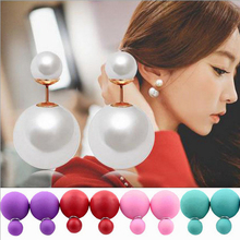 5 Pairs New Fashion Paragraph Hot Selling Earrings Double Side Shining Pearl Stud Earrings Big Pearl Earrings For Women 1338(China (Mainland))