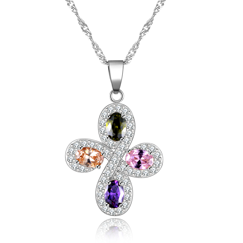 Platinum Plated Cross Pendant Necklace with Multi Colors AAA Zircon Women Birthday Present Jewelry,6 pieces/lot WHMN02(China (Mainland))