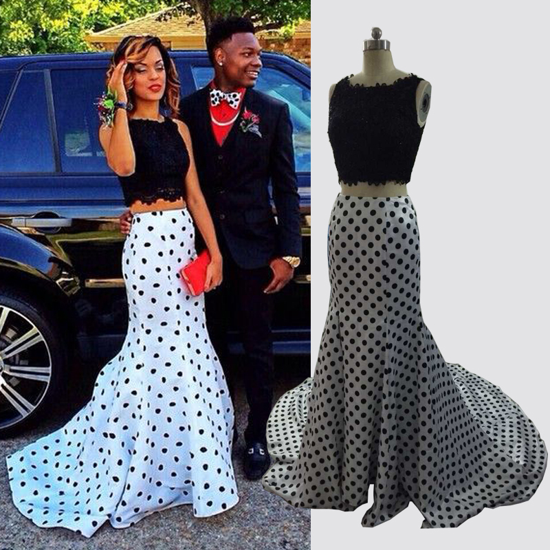 Online Get Cheap White Two Piece Prom Dress with Black Lace ...
