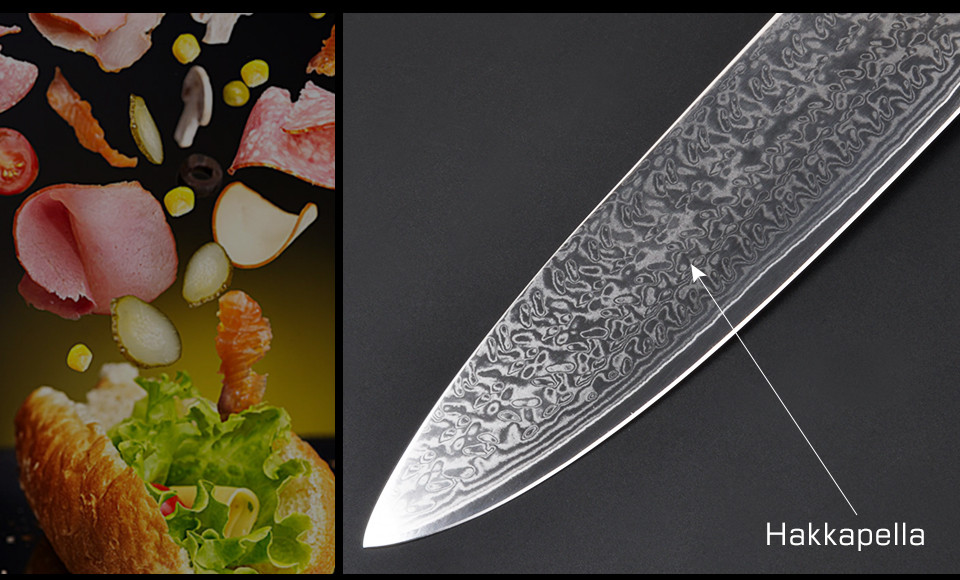"Buy GHL 8"" inches Damascus kitchen knives Damascus knife high quality VG10 Japanese steel chef knife Micarta handle free shipping cheap"