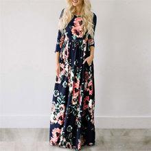 2019 Летнее Длинное платье с цветочным принтом богемский пляжное платье туника Макси платье женское вечернее платье Сарафан S- XXXL(China)