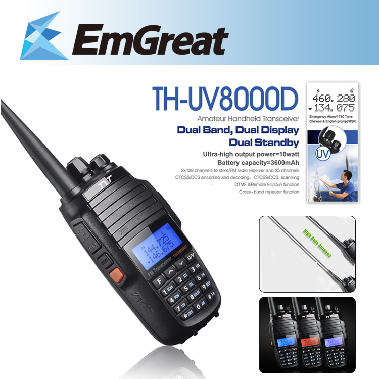 TYT TH-UV8000D Ultra-high 3600mAh 10W Handheld Transceiver Walkie Talkie Dual Band Display Standby US Plu +High Gain Antenna(China (Mainland))