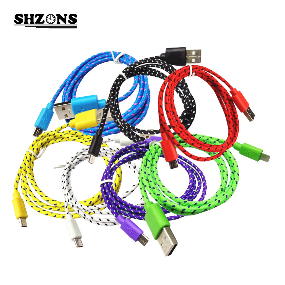 Hot 1m 2m 3m Braided Wire Micro USB Cable Sync Nylon Woven Charger Cords for Samsung S5 S6 S7 Android Phone V8 Micro USB Cable(China (Mainland))
