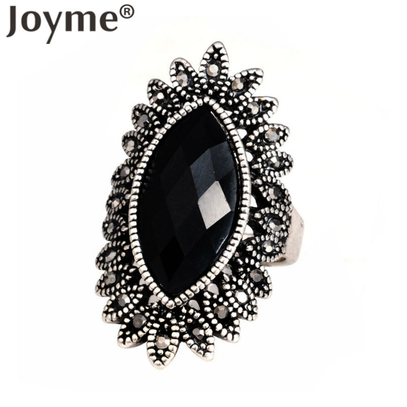 Joyme Brand Luxurious indian Jewelry 18k White Gold Vintage Retro Black Resin Stone Engagement Ring Women Bague Femme(China (Mainland))