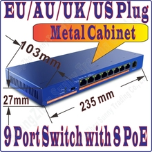 Free&Shipping 9 port 8 poe switch IEEE802.3af at PoE suit for all kind of poe camera or AP wholesale, Network Switches Plug&Play(China (Mainland))