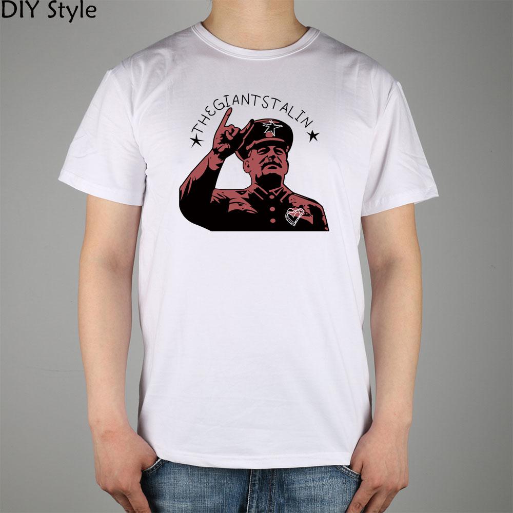 RED GIANT STALIN CCCP TVB ZT PN short sleeve T-shirt Top Lycra Cotton Men T shirt New DIY Style