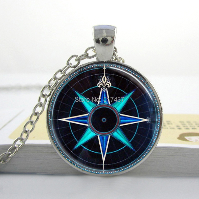 Vintage Compass Rose Necklace Nautical Jewelry Navy Blue and Aqua Art Pendant(China (Mainland))