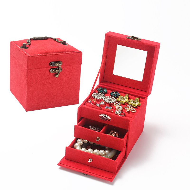 Drop sell Fashion jewelry box 4 color Birthday / Wedding / Valentine gifts ,Girls grown up Gifts/ Women's Day Gifts, jewel box(China (Mainland))