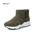 New Nubuck Leather 2016 Winter Boots Woman High Quality Short Plush Snow Boots for Ladies Brand