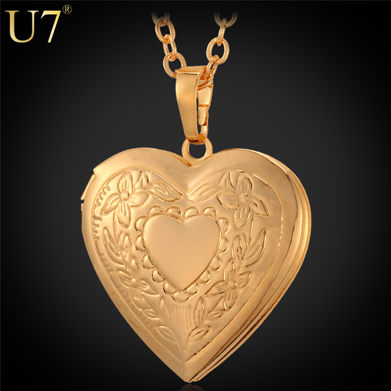 U7 Heart Locket Necklace Women Jewelry Gift For Love Wholesale 18K Real Gold Plated Romantic Fancy Heart Pendant For Women P318(China (Mainland))