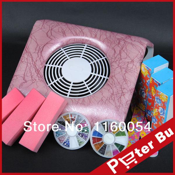 2014 New Professional Pro pink nail art dust suction files kits 3 buffer blocks two files gem 504 free shipping(China (Mainland))