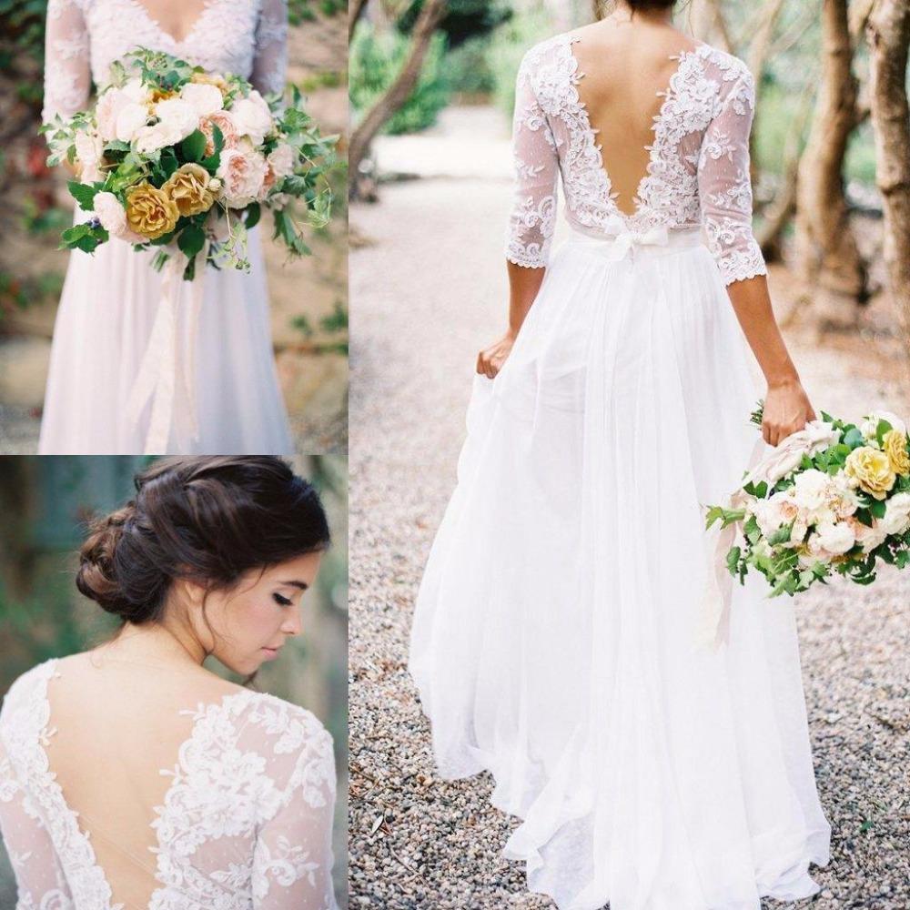 Lace chiffon bridal dresses boho lace dress v neck half for Wedding dress v neck lace