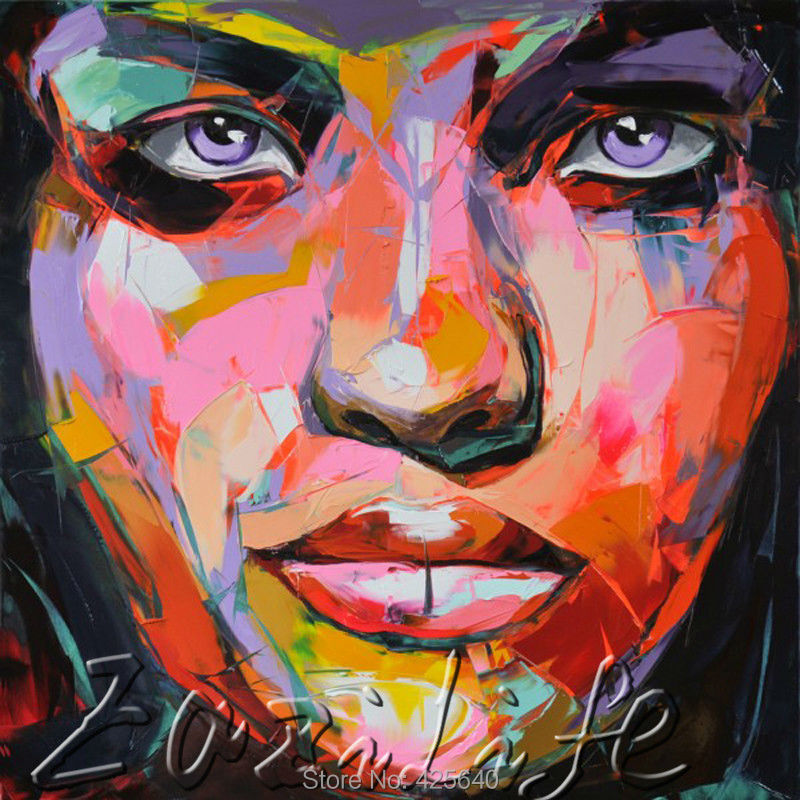 Buy Palette knife painting portrait Palette knife Face Oil painting Impasto figure on canvas Hand painted Francoise Nielly 00 cheap
