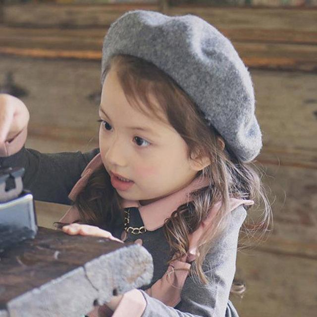 11 цвета девочка зима шапки дети довольно шерсть войлок берет малыша аксессуары шляпы малыш тёплый берет шапки