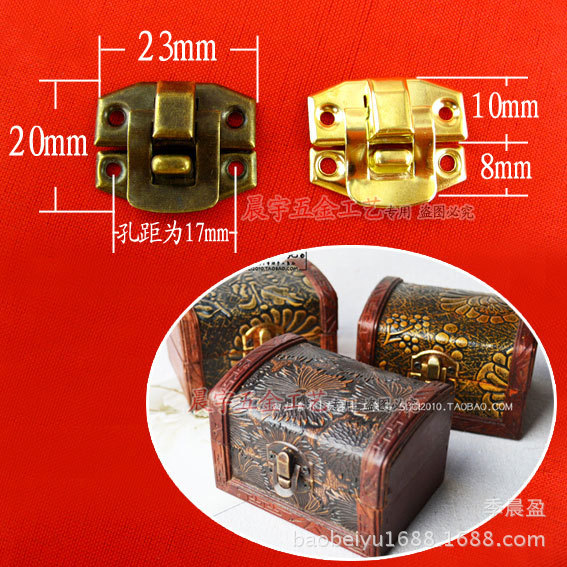 K035 Accessories Antique wooden gift box lock buckle buckle wooden jewelry box tin box wholesale accessories<br><br>Aliexpress