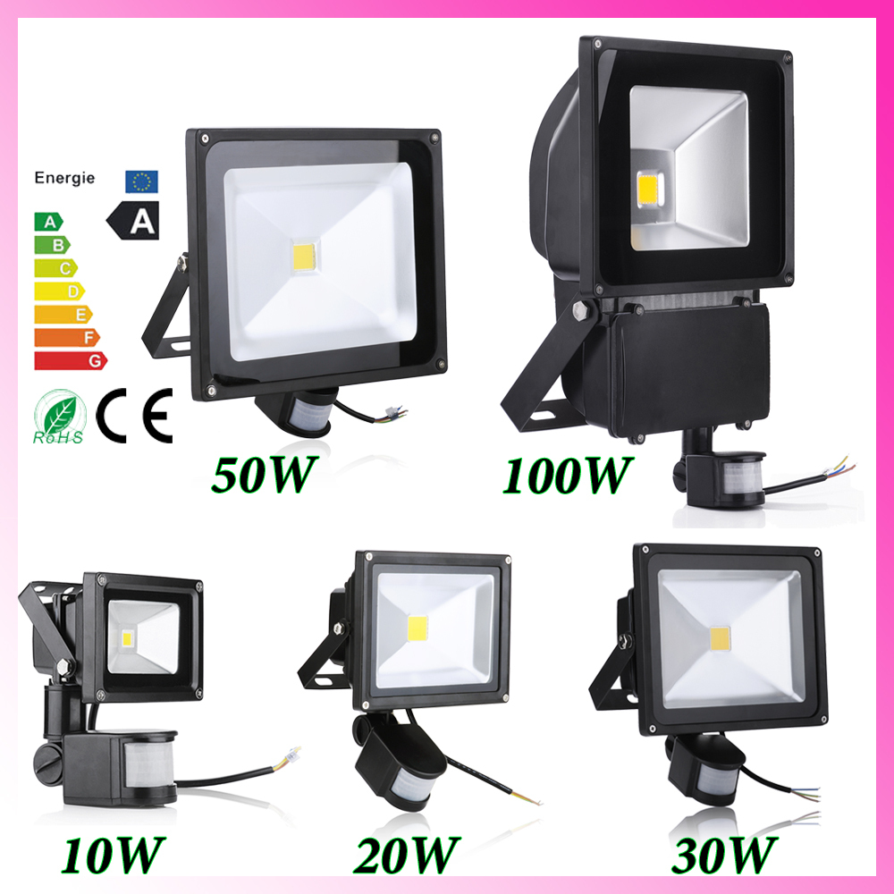 Wholsale!5pcs/lot Led 100w Flood Light Pir Motion Sensor Induction Sense IP66 Led Floodlight Warm Cold White Advertising Lamp(China (Mainland))