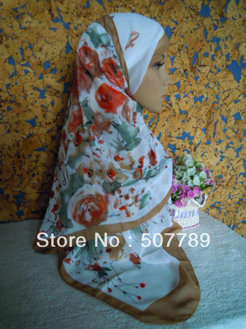 a067 cheaper chiffon long scarf printed rose shawl chinese painting mix colors free shipping(China (Mainland))