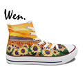 Sunflower Floral Hand Painted Canvas Shoes Men Women s High Top Unique Sneakers Birthday Gifts Hand