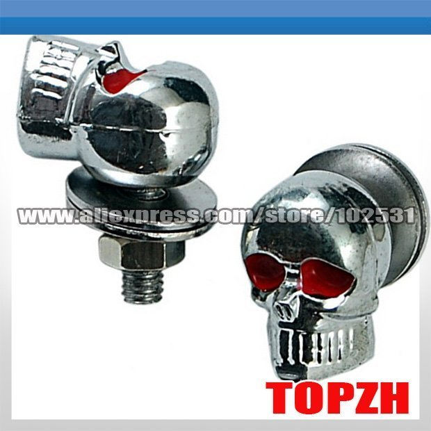 Motorcycle Chrome SKULL License Plate Frame Screws Bolt Motorcycle Accessories TA031