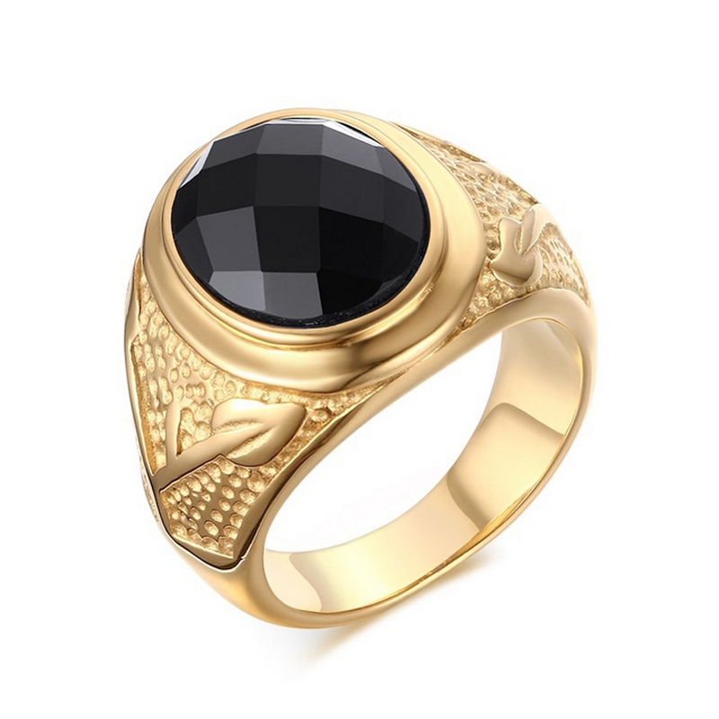 Wholesale Fashion super Black Agate rings men Jewelry Male Gold plated Men ring 316L Stainless steel High quality finger Ring(China (Mainland))