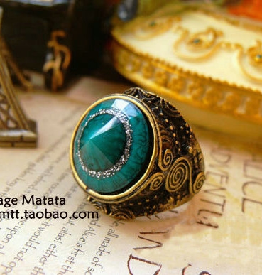 Matata accessories 68 vintage fashion ring green finger ring(China (Mainland))