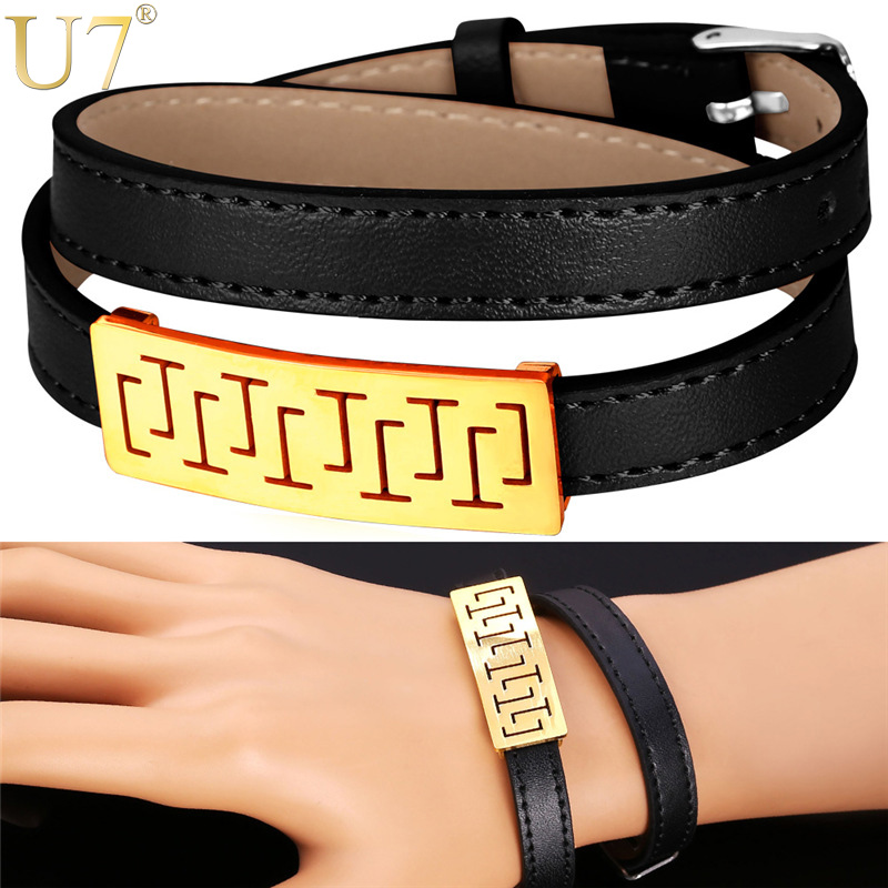 Genuine Leather Bracelet For Men Jewelry Stainless Steel 18K Gold Plated New Trendy 4 Options Leather Bracelets H732(China (Mainland))