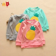 AD 2-7Y Cute Pineapple Kids Sweatshirts Fleece Thickening Boys Girls T-shirts Children's Clothing Clothes Teen Baby Toddler Tops(China (Mainland))