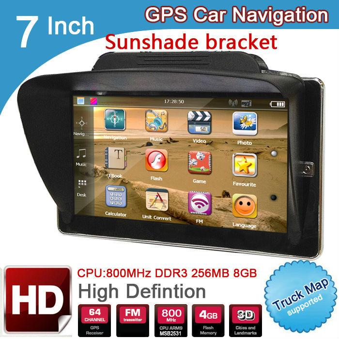 "7"" Car truck Spanish Espanol GPS Navigator navigation with gps sunshade CPU 800MHZ DDR 256M 8GB FM EUROPE GPS MAP FRANCE RUSSIAN(China (Mainland))"