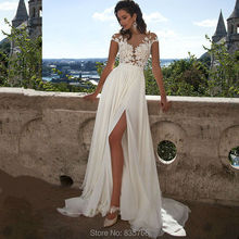 2016 New Scoop Neck Lace Wedding Dress Summer Beach Bridal Gown with high Slit Sexy Gown for Bride robe de mariage(China (Mainland))