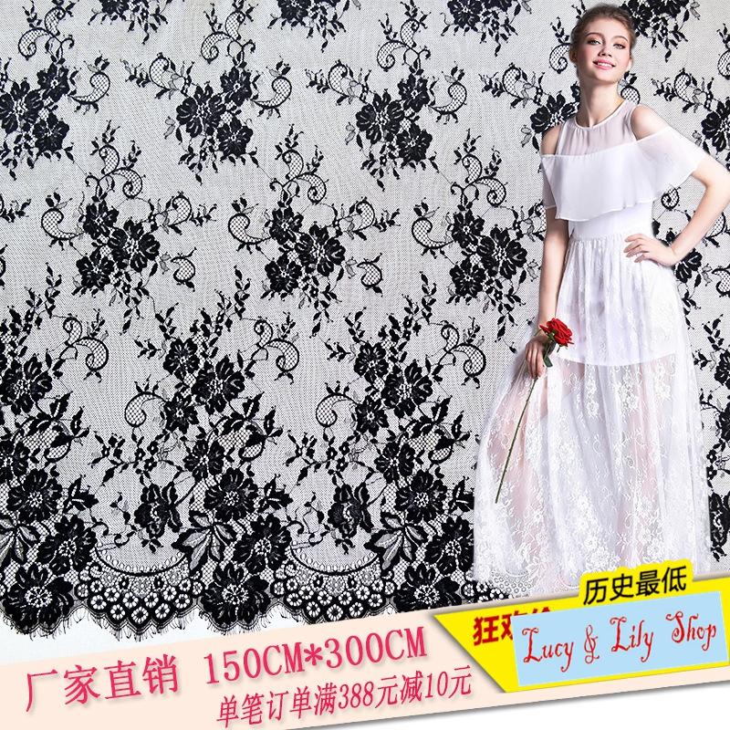 Buy best selling black off white eyelash for Wedding dress fabric store