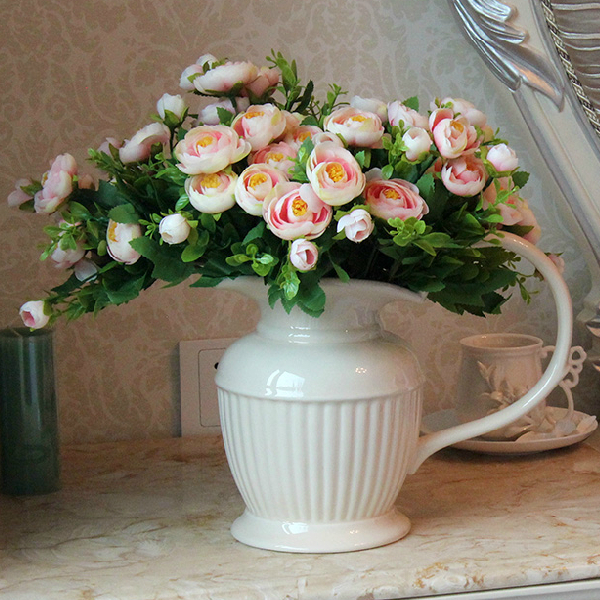 10pcslot spring tea rose bouquet new arrival beautiful artificial flower wedding home decorative flowers - Home Decor Flowers