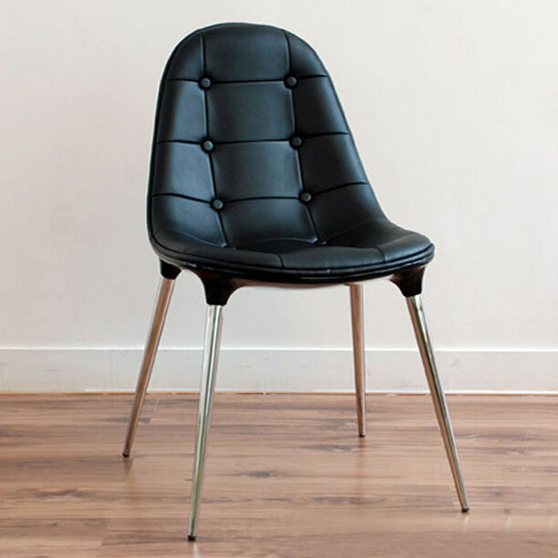 Free Shipping Side Chair Black PU Leather In Dining Chairs