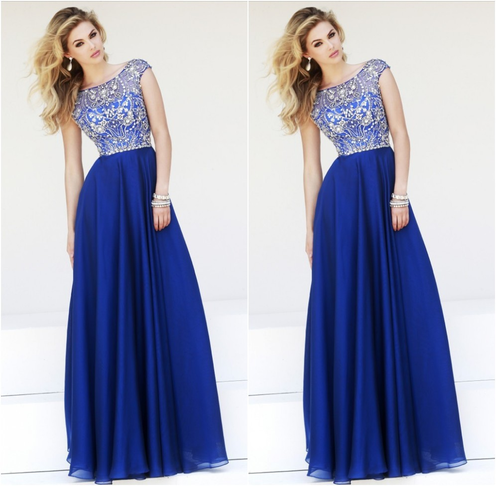 2015 Promotion Empire A-line Long Prom Dresses Elegant Line Cap Sleeves Royal Chiffon New Floor Length Dress  -  Suzhou dreamybridal Co.,LTD store