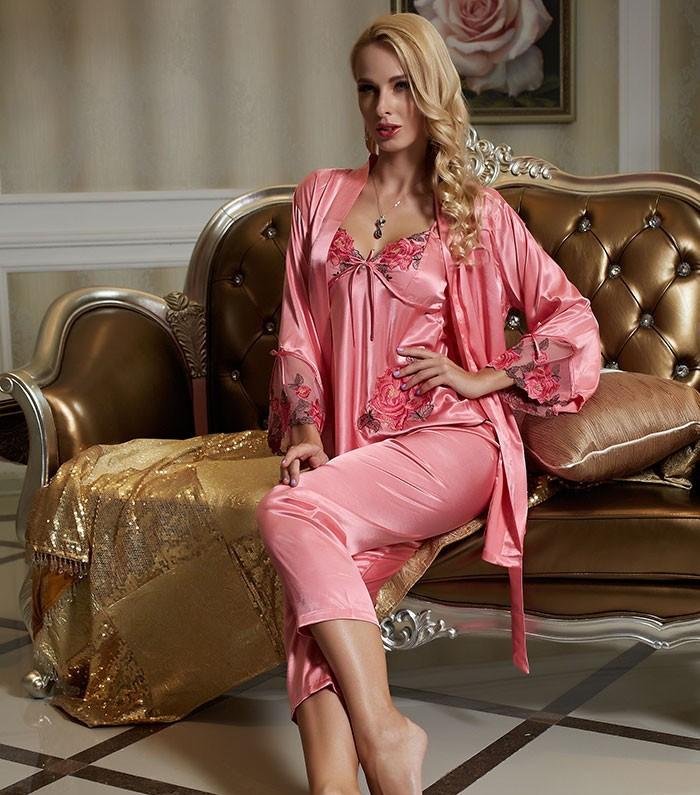 New Listing 2017 Emulation Silk Women Pajamas Lace Embroidery V-Neck ... 07b868ab2