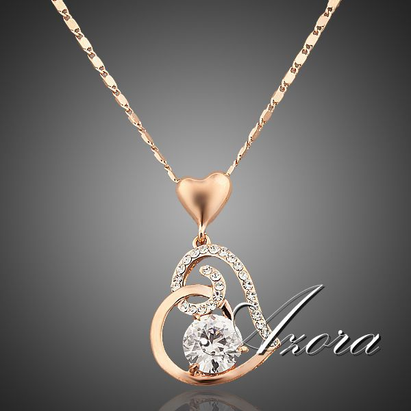 AZORA 18K Rose Gold Plated Stellux Crystals Heart Pendant Necklace for Valentine's Day Gift of Love TN0009(China (Mainland))