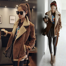 Fall/Winter Woman Ladies Shearling Coats Suede Leather Jackets Plus Size Long Coat Thick Lambs Wool Coat Top S-Xxl Camel D099(China (Mainland))