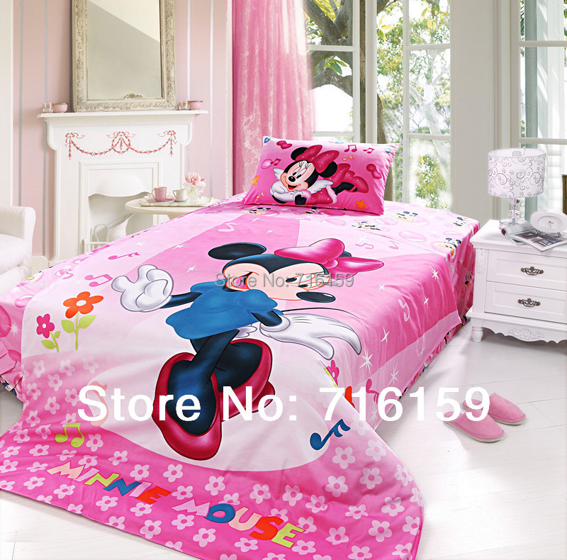 Bedding set 3pc bedclothes Cotton Minnie Mouse Duvet/Comforter/Quilt Cover bed linen sets double full twin queen size Bp115(China (Mainland))