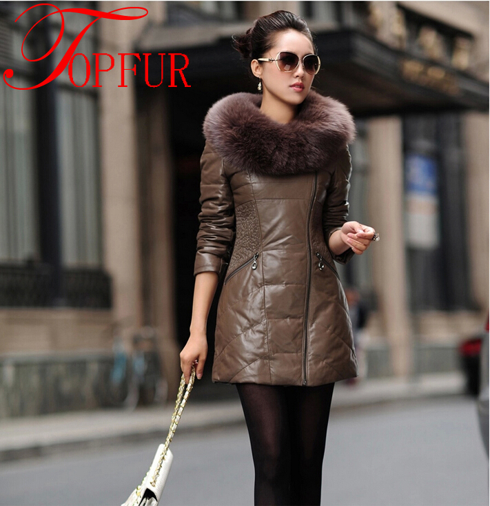 2016 New Women Luxury Real Genuine Leather Long Coat Natural Fox Fur Collar Jacket FP308 - TopFur Fashion co.,Ltd store