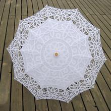 Occhiali da Sole di modo Del Merletto Ombrello Parasole Ricamo Bianco Avorio Da Sposa Ombrello Ombrello Ombrelle Dentelle Parapluie Mariage(China (Mainland))