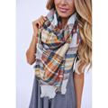 Fashion Plaid Girls Scarf Cashmere Pashmina Designer Blanket Tartan Brand Shawl Thicken Hot Handkerchief Soft Winter