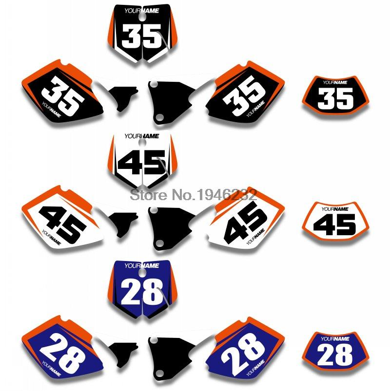 KTM EXC 125 200 250 300 380 400 1998 1999 2000 Custom Number Plate Backgrounds Graphics Sticker & Decals - Cnc Motocross Parts store
