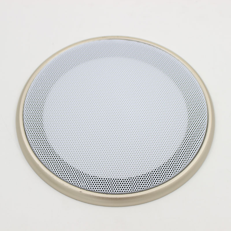 """2pcs 6.5"""" Speaker Coaxial Steel Sub Mesh Grills Cover Gold Woofer Cover 20CM White+Gold frame"""