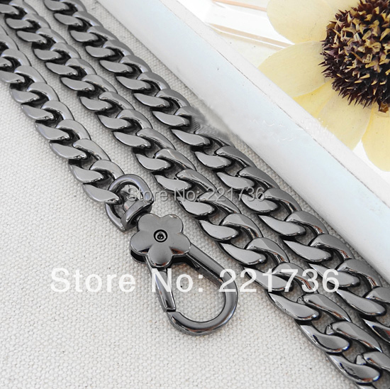Bags Accessories 59 Inches smooth 12mm Gun Black Metal Flat Chain Handbag Straps Purse Handles - grace young's store