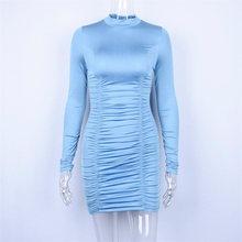 Dulzura נשים סקסי bodycon מיני שמלת 2019 סתיו חורף בגדים ארוך שרוול גבוהה צוואר smocking מסיבת שמלות(China)