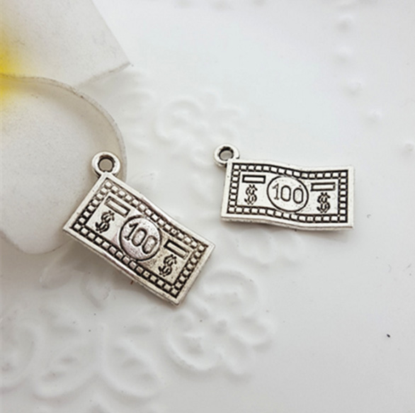 10pcs/lot 10*19mm Antique Silver plated Pewter Jewelry charm with US DOLLAR for DIY jewelry(China (Mainland))