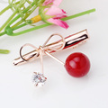 Imitation Diamond Cherry Pearl Bow Hairpin Duckbill Women Beauty Barrette Fashion Jewelry Wholesale Hair Accessories Clips