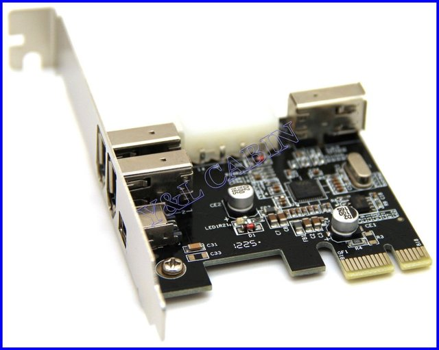 4 3+1 Port 1394 1394a FireWire 400 to PCI-E PCI Express Card Adapter Converter VIA VT6315 Chipset, Free Shipping