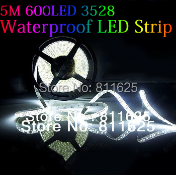 Hot Sale ! 5M/lot IP65 Waterproof 3528 600 LED Strip Light Ribbon Tape 120led/m WarmWhite ColdWhite Blue Green Red LED stripe(China (Mainland))