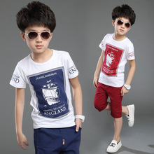 2015 New Children Clothes Suit Boy Cotton Short-sleeved 2Pcs Set Fashion England Temperament Sailboat Big Boy Kids Clothing Sets(China (Mainland))